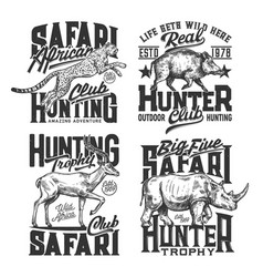 Safari hunting t shirt prints hunt club animals vector