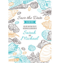 save date wedding invitation sketch vector image
