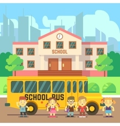 School building flat concept vector