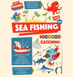sea fishing sport ship and information vector image