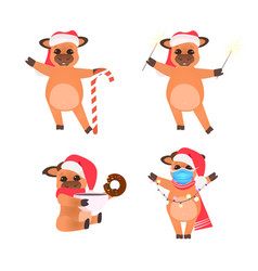 set little oxes in santa hats celebrating happy vector image
