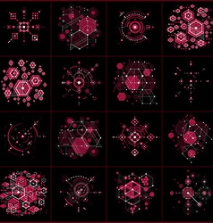 Set of Bauhaus abstract red backgrounds made with vector