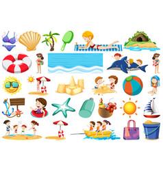 set of summer beach element vector image