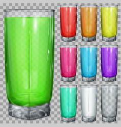Set of transparent glasses with multicolored drink vector