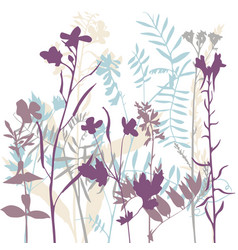 Silhouettes of flowers and grass vector