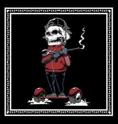 Skull mafia holding gun hand drawing vector