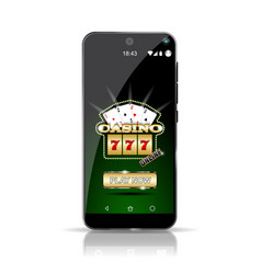 smartphone showing the game casino online highly vector image