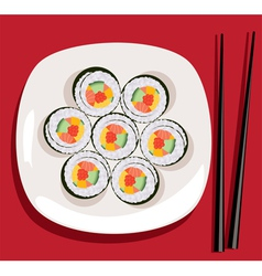 sushi on the plate vector image