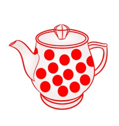 Teapot with red dots part of porcelain vector
