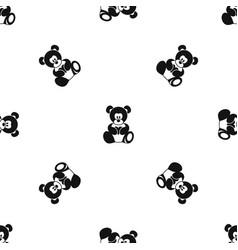 Teddy bear holding a heart pattern seamless black vector
