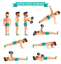 The Best Upper Chest Workout for men exereise at vector image