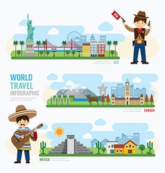 Travel and outdoor landmark mexico canada usa vector