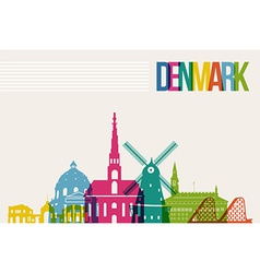 Travel Denmark destination landmarks skyline vector image