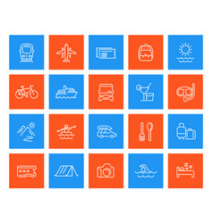 travel tourism vacation linear icons set vector image