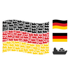 waving german flag collage of ship icons vector image