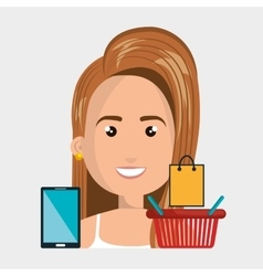 Woman basket mobile money vector