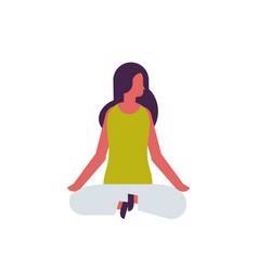 woman doing yoga exercises lotus female cartoon vector image