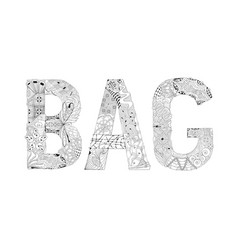 word bag for coloring decorative zentangle vector image