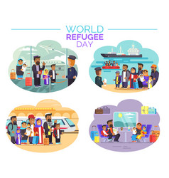 world refugee day poster with people who move away vector image