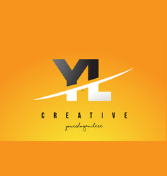 Yl y l letter modern logo design with yellow vector