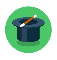 Circle flat icon magic hat vector