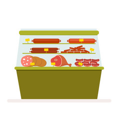 counter with meat products sausage and ham in the vector image vector image