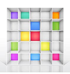 empty colorful bookshelf vector image