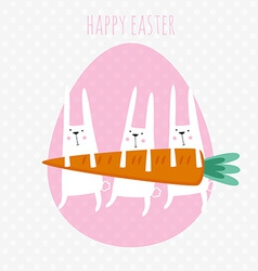 Happy easter greeting card with cute rabbit vector image vector image