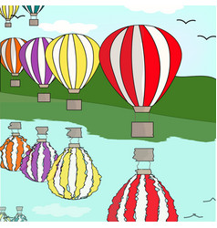 hot air balloon by the river vector image vector image
