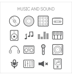 Set of simple icons with musical objects vector image vector image