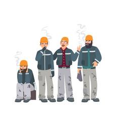 Smoking place builders on smoke break mans in a vector