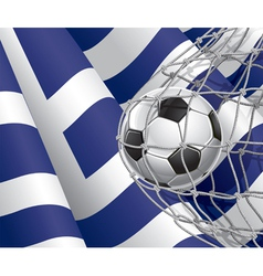 Soccer goal and Greece flag vector image