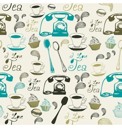 Vintage Afternoon Tea Pattern vector image vector image