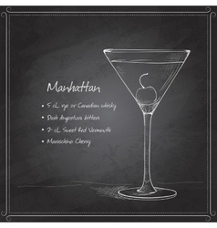 cocktail manhattan on black board vector image