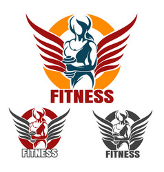 fitness club emblem set with training athletic vector image vector image