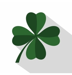Green four leaf clover icon flat style vector image vector image