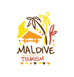 maldive summer paradise tourism logo template hand vector image