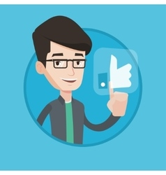 Man pressing like button vector image vector image