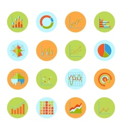 Business chart icons flat vector image vector image