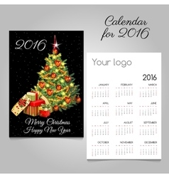 Calendar 2016 with Christmas tree and gifts vector image vector image