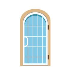 glass paned arched front door closed elegant door vector image