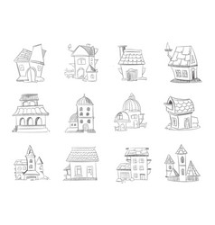 hand drawn cartoon different houses buildings vector image vector image