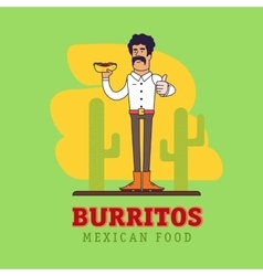 Modern mexican is holding the national fast food - vector image