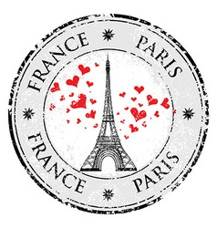Paris town in France grunge stamp love heart vector image