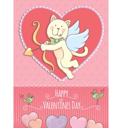 Valentine Day card with cat vector image vector image