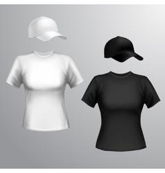 Women t-shirt baseball cap vector image vector image