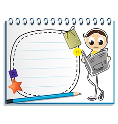 A notebook with a sketch of a man reading vector image