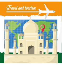 global map with tag mahal archicture of india vector image