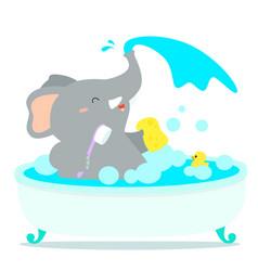 happy elephant cartoon take a bath in tub vector image vector image