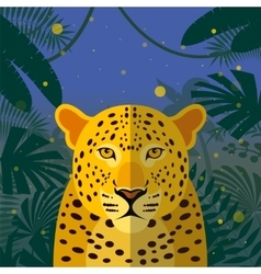 Leopard on the Jungle Background vector image
